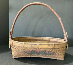 Vintage Rustic Country Farmhouse Wooden Oblong Basket Adornments Floral ... - $26.18