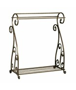 Bronze Finish Quilt Rack Blanket Stand Bedspread Storage Display Scrolle... - $111.77