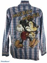 Disney Store Mens Large Mickey Mouse Long Sleeve Snap Up Shirt - $23.36