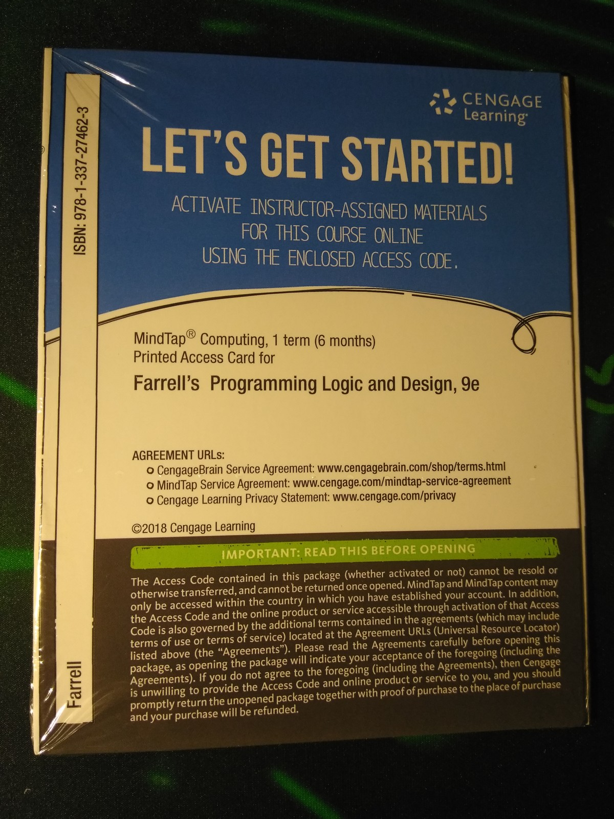 MindTap Printed Access Card Farrell's Programming Logic and Design 9th Edition
