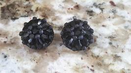 Vintage Liz Claiborne Clip Button Earrings Black - $5.00