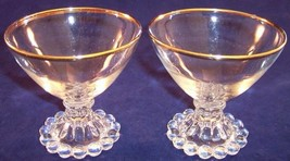 Vintage 2 Anchor Hocking Boopie Gold Champagne Tall Sherbet Glasses Bead... - $10.11