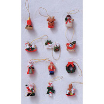 "HOLIDAY CRAFT 12 pc Resin Ornaments w/ Blister Card- Xmas Figures 3/4""  ... - $2.96"