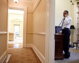 President Barack Obama talks on phone in White House private study Photo... - $8.99