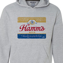 Hamm's Beer Hoodie retro vintage style distressed print grey graphic tee shirt image 2