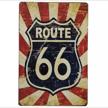Vintage Route 66 Motorcycle Car Metal License Vintage Metal Tin Sign Plaque - $13.99