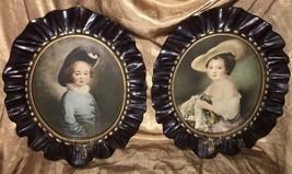 "Pair Vintage 13.25"" x16"" Oval Prints w/ Plaster of Paris Frames Boy Girl... - $37.61"
