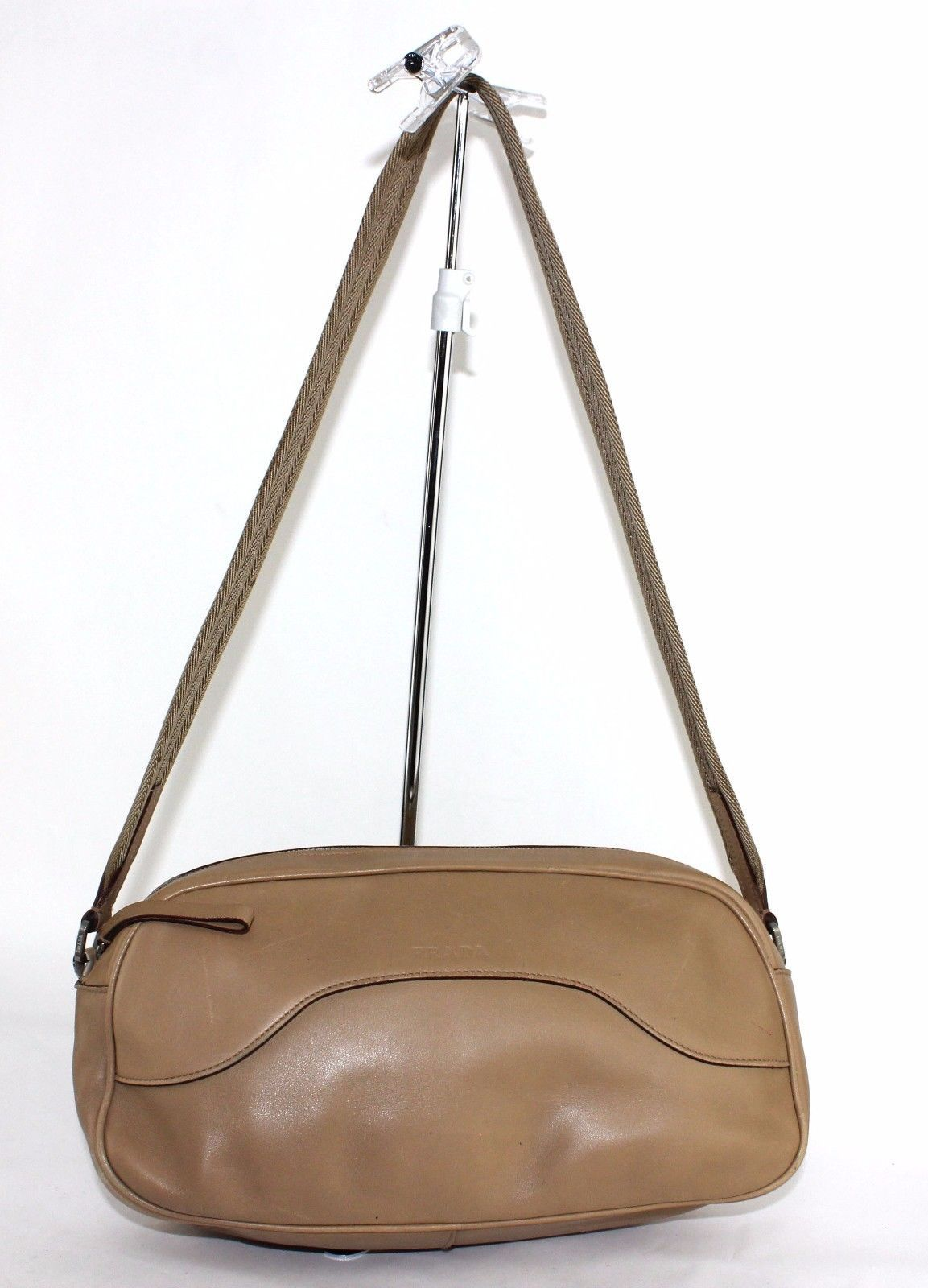 c414176410c5 S l1600. S l1600. Previous. 100% Auth PRADA Milano Light Brown Leather  Shoulder bag Purse Zip Closure Italy