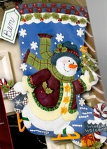 Bucilla Skating Snowman Ice Skate Christmas Eve Holiday Felt Stocking Kit 85429 - $52.95