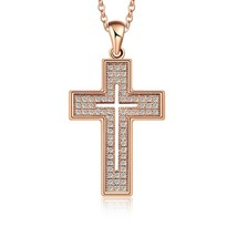 Fashion Women's Cross Necklace AAA Cubic Zirconia Rhinestone Gold Filled... - $48.60