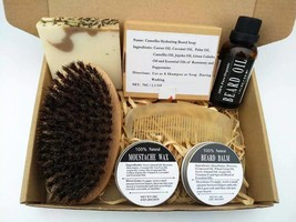 Natural Beard Care Set With Comb Leave-in Beard Oil Balm And Wax For Styling - $11.62+