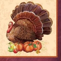 Thanksgiving Elegance Turkey Beverage Napkins 16 ct Banquet - $3.49