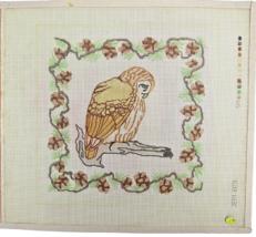 1970's Hand Painted Needlepoint Sad Owl On Tree Branch Jean Etiel 14CT C... - $30.33