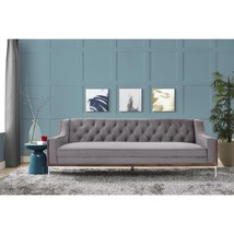 Walnut Finish Velvet Tufted Sofa Modern Contemporary with Lucite Acrylic... - $1,135.57