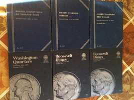 COLLECTION OF SIX BLUE WHITMAN US COIN FOLDERS, ROOSEVELT DIMES, QUARTER... - $18.54