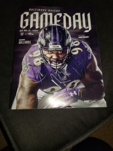 Baltimore Ravens GAME DAY Program Multi Autographs Brandon Carr, Cyrus Jones, Ty