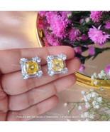 2.20Ct Cushion Cut Yellow Diamond Halo Stud Earrings In 14K White Gold F... - $110.49
