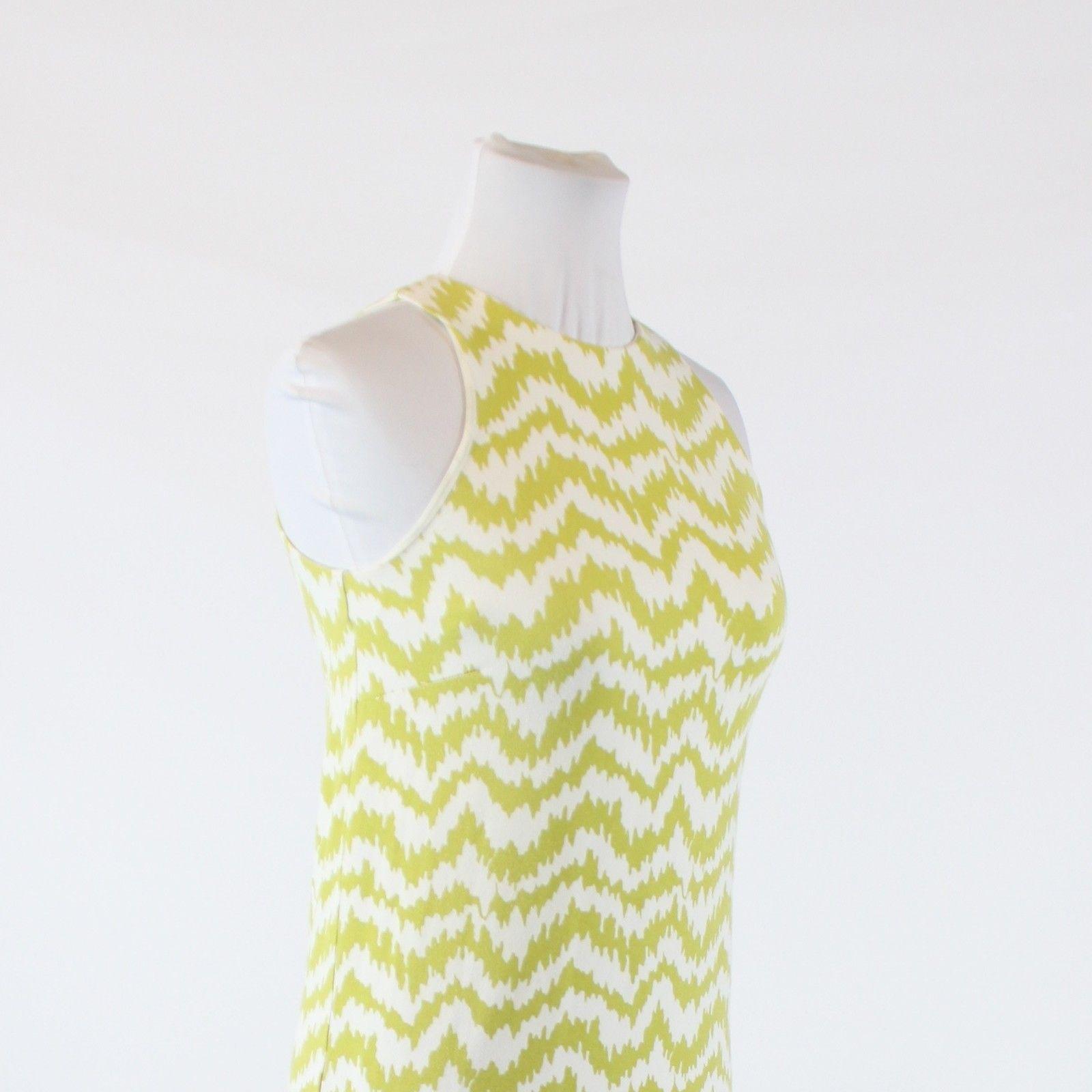Olive green white geometric stretch ANN TAYLOR sleeveless shift dress PXXS