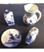 4 Pieces Of Delft From Holland, Plate, Bottle, Pitcher, Shoe - $19.80