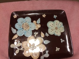 PIER 1 IMPORTS  CASSIDY   PLATTER  FLORAL  BLUE / BROWN -FREE SHIP--VGC - $42.17