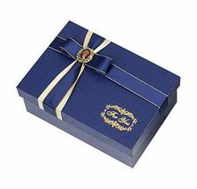 Rectangle Elegant Ruby Bowknot Noble Navy Blue Gift Box Valentine's Day ... - $17.03