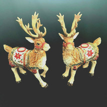 1Fritz Floyd Reindeer Taper Candle Holders Father Christmas Ceramic Retired Pair - $265.32