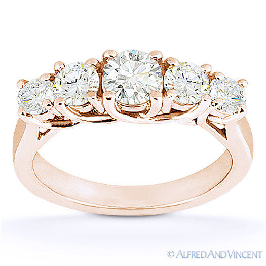 Primary image for Round Cut Forever Brilliant Moissanite 14k Rose Gold Trellis Wedding Ring Band