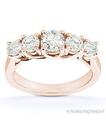 Round Cut Forever Brilliant Moissanite 14k Rose Gold Trellis Wedding Rin... - $811.79+