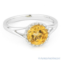 1.36 ct Round Cut Citrine & Diamond Halo Engagement Promise Ring 14k Whi... - €366,04 EUR