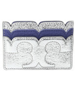 NWT Tory Burch Marlin Silver Leather Metallic Scalloped Card Case Wallet - £53.74 GBP