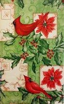 "Christmas Cardinals vinyl flannel back tablecloth 52"" x 90"" - $8.99"