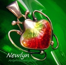 Rare Antique Newlyn Enamel Strawberry Silver Pendant c.1910 Arts Crafts ... - $1,499.00