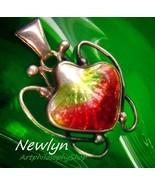 Rare Antique Newlyn Enamel Strawberry Silver Pendant c.1910 Arts Crafts ... - $1,499.00