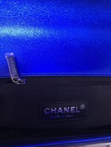 SALE*** Authentic Chanel Boy Metallic Blue Quilted Patent Large Leather Flap Bag image 8