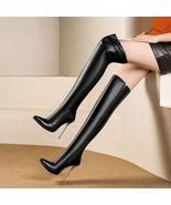 91B002 Chic over-the-knee boot w metallic heel,matte color,size 3-10.5, ... - $98.80