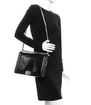 AUTHENTIC CHANEL BLACK LARGE GLAZED BOY FLAP BAG SHW image 9