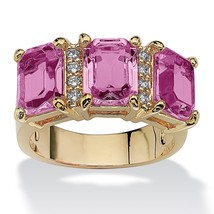 Birthstone and CZ 14k Gold-Plated Ring-June-Simulated Alexandrite - $21.69