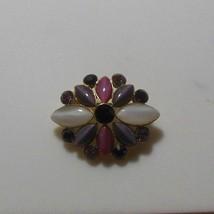 Vintage LC Liz Claiborne Purple, Pink, White Moonstone/Rhinestone Flower... - $18.80