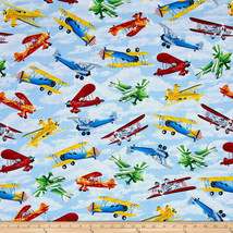 Timeless Treasures Propeller Planes Sky Aqua Blue 100% cotton fabric by ... - $313,54 MXN