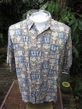 Hawaiian ALOHA shirt L pit to pit 24 CAMPIA MODA block print tropical lu... - $14.69