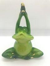 Set of 2 - Pond Life Yoga Frog Figurines - Green Polystone Lotus Poses  image 3