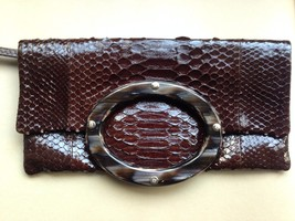 Ema G G Brown Python Snake Skin Leather and Animal Horn bag clutch - $495.00