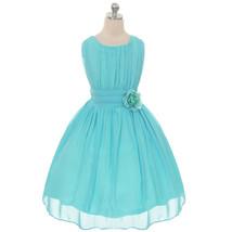 Aqua Round Neck Yoryu Chiffon Flower Girl Dresses Birthday Party Pageant... - £27.32 GBP+