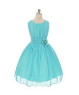 Aqua Round Neck Yoryu Chiffon Flower Girl Dresses Birthday Party Pageant... - $36.00+