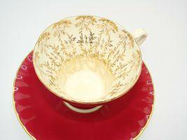 Aynsley Bone China Maroon Gold Floral Interior Corset Waist Tea Cup Saucer 1950 image 6