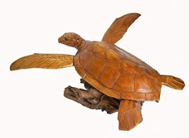 WorldBazzar Extra Large XL Hand Carved LG Mahogany Flying Turtle ON Coral Log Dr - $118.74