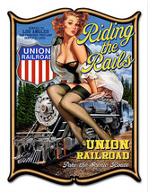 Pin Up Girl Laser Cut Out Reproduction Union Railroad Sign 14x18 - $25.74