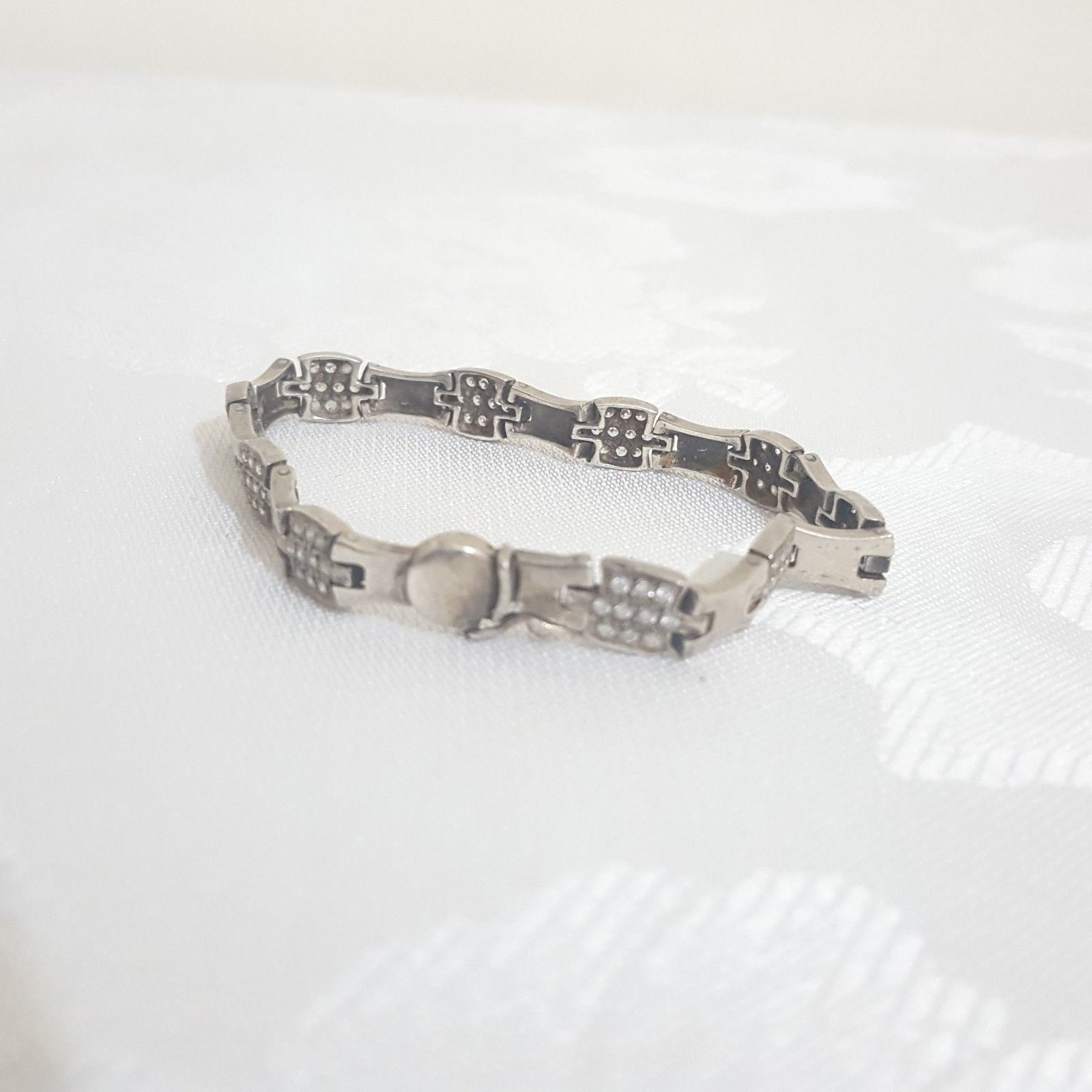 Primary image for silver bracelet Hand Signed 925 Decorated with Swarovski stones