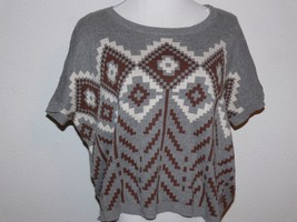 Boutique Forever 21 Gray w Brown Aztec Print Short Sleeve Sweater Top La... - $14.99