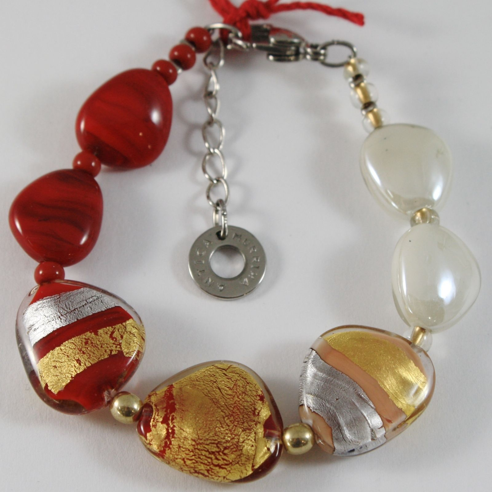 ANTICA MURRINA VENEZIA STRIPED BRACELET, RED, WHITE, BROWN AND GOLD FLAT DROPS